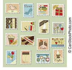 groot, postzegels, set