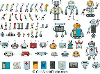 groot, robot, onderdelen, kleur, set, anders