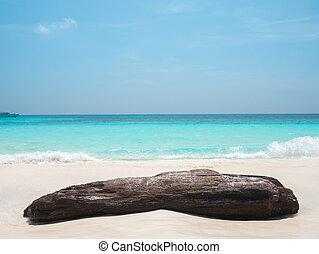groot, rots, strand, zee, golf