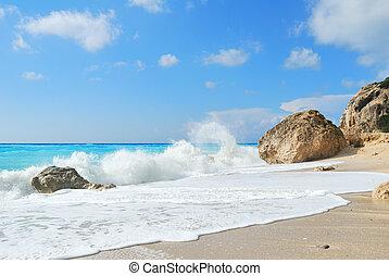 groot, rotsen, zee, golven, wild, strand