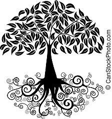 groot, silhouette, boompje