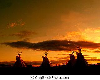 groot, teepee, ondergaande zon