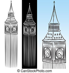 groot, toren, ben, tekening, klok