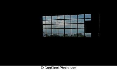 groot, venster, fototoestel, door, langs, bewegingen, landscape, optredens