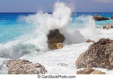 groot, verbreking, oever, golf, hoog, verpulveren, zee, rotsen