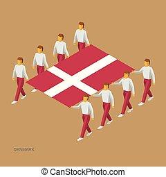 groot, vlag, houden, acht mensen