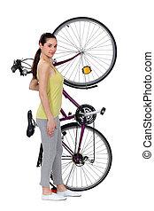 groot, vrouw, bike., haar