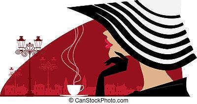 groot, vrouw, koffiehuis, hoedje