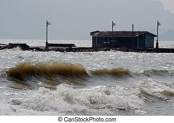 groot, windy dag, zee, golf