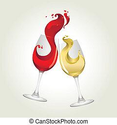 groot, witte , gespetter, rode wijn