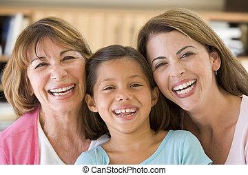 grootmoeder, kleindochter, dochter, volwassene