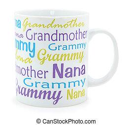 grootmoeder, op, koffie mok, witte