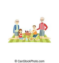 grootouders, geitjes, picknick, hebben