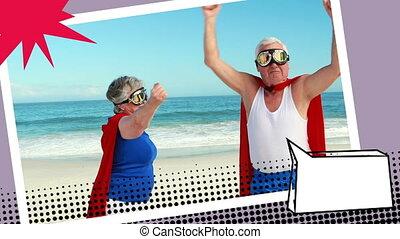 grootouders, kostuums, superhero, vervelend