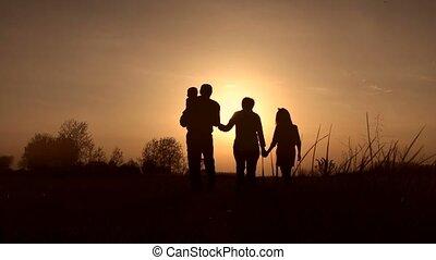 grootouders, silhouettes, geitjes, ondergaande zon