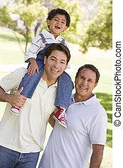 grootvader, volwassene, kleinkind, zoon
