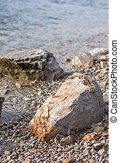 grote golven, strand, zee, rotsen