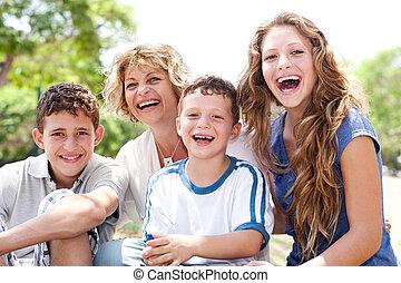 grown, moeder, dochter, op, zoon