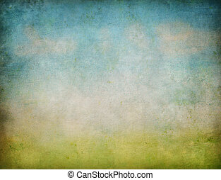 grunge, abstract, hemel, achtergrond, gras, landscape