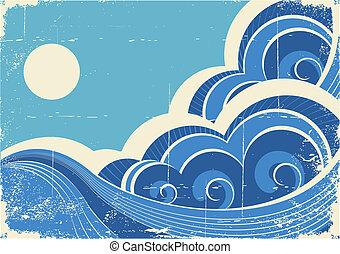 grunge, abstract, illustratie, vector, waves., zee, landscape