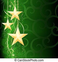 grunge, achtergrond, sneeuw, elements., kerstmis, feestelijk, gouden, groene, donker, sterretjes, flakes