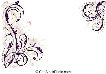 grunge, achtergrond, vector, floral