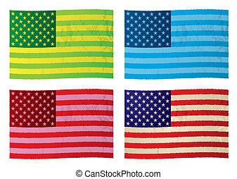 grunge, amerikaanse vlaggen