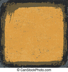 grunge, black-yellow, vector, frame., eps10