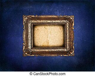 grunge, blauwe , lege, muur, gouden, frame