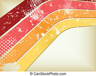grunge, gele, disco, perspectief, achtergrond, sinaasappel, rood