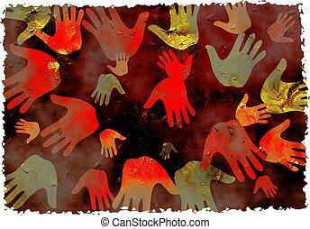 grunge, handen