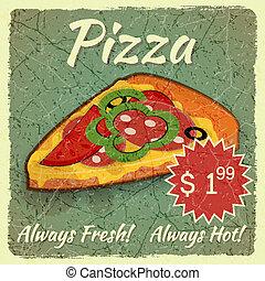 grunge, kaart, pizza
