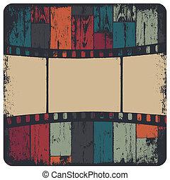 grunge, kleurrijke, van hout vensterraam, seamless, achtergrond., vector, strook, eps10, film