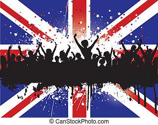grunge, menigte, dommekracht, achtergrond, verbond vlag