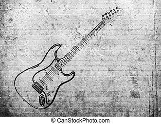 grunge, muur, poster, muziek, rots, baksteen