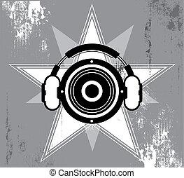 grunge, ontwerp, muziek, ster
