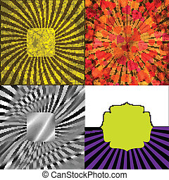 grunge, ouderwetse , set., vector, retro, achtergrond, textured, zonnestraal, rays.