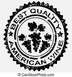 grunge, postzegel, etiket, amerikaan, kwaliteit, wijntje