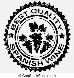grunge, postzegel, etiket, spaanse , kwaliteit, wijntje