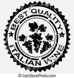 grunge, postzegel, etiket, wijntje, kwaliteit, italiaanse