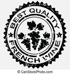 grunge, postzegel, franse , etiket, kwaliteit, wijntje