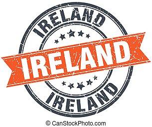 grunge, postzegel, ouderwetse , lint, ierland, ronde, rood