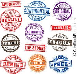 grunge, postzegels, 2, commercieel, set