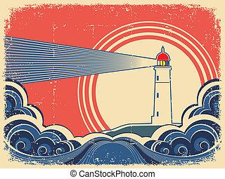 grunge, sea., vuurtoren, blauwe achtergrond