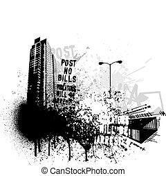 grunge, stad, ontwerp