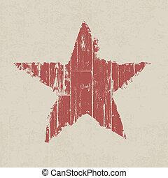 grunge, star., vector, eps10., rood