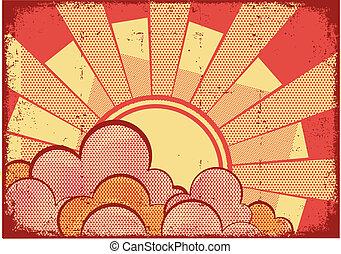 grunge, textuur, achtergrond, stripfiguren, zonlicht