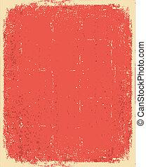 grunge, textuur, tekst, oud, vector, paper., rood