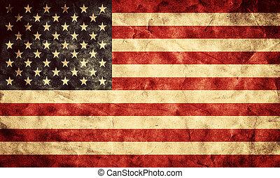 grunge, usa, flag., ouderwetse , artikel, vlaggen, retro, verzameling, mijn