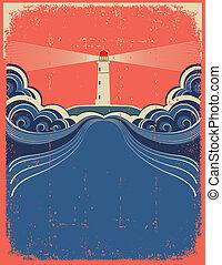 grunge, vuurtoren, blauwe achtergrond, vector, ontwerp, waves.